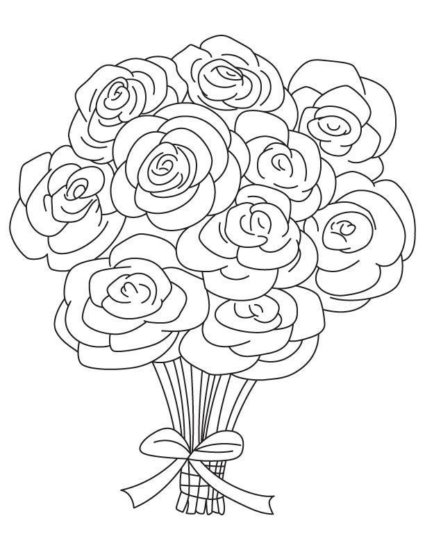 Drawn rose bunch rose  color page bouquet to