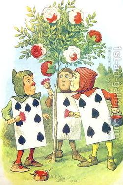 Drawn rose bush alice in wonderland card Illustration The Painting Rose Playing