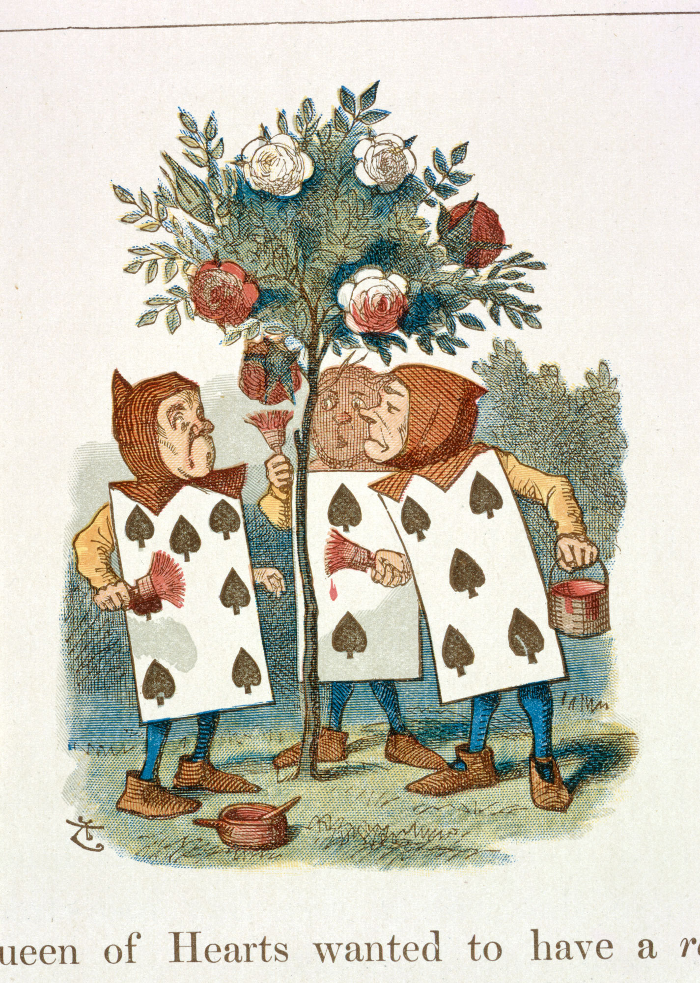 Drawn rose bush alice in wonderland card Eighth Illustration to Bushes' to