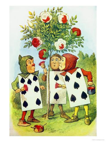 Drawn rose bush alice in wonderland card Cards Drawing Cards In In