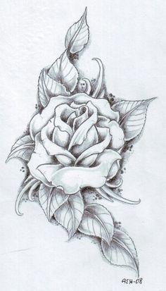 Drawn rose bush artistic For Rose tattoo; rose