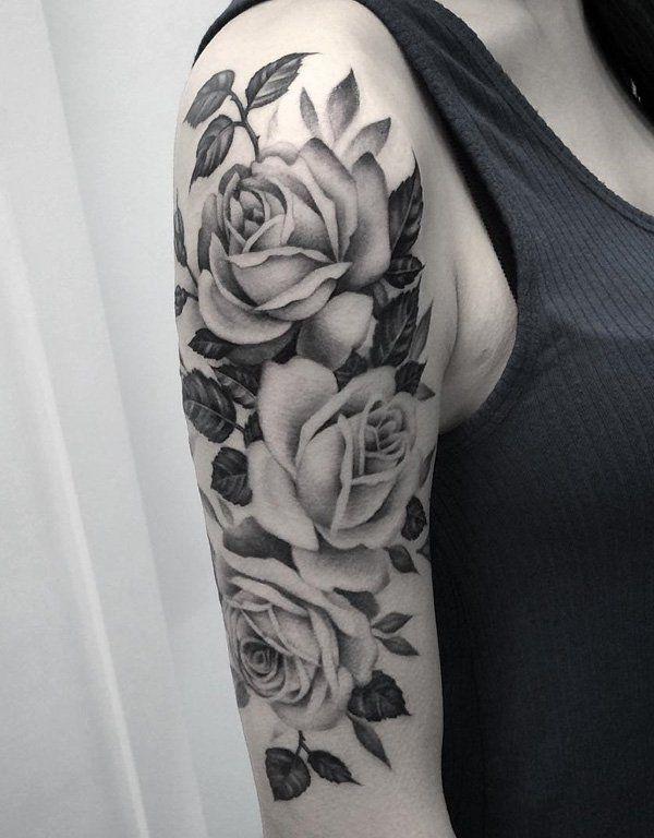 Drawn rose bush half sleeve Rose on ideas sleeve 120+