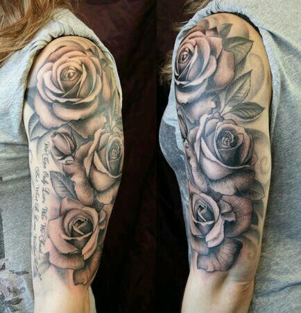 Drawn rose bush half sleeve 120+  Rose sleeve Roses