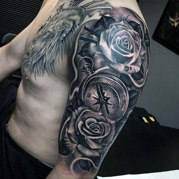 Drawn rose bush half sleeve  compass Tattoo sleeve Rose