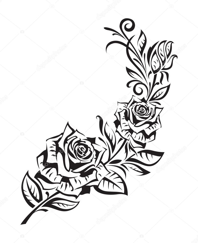 Drawn rose bush rosal Vectors Illustrations  Rosebush Stock
