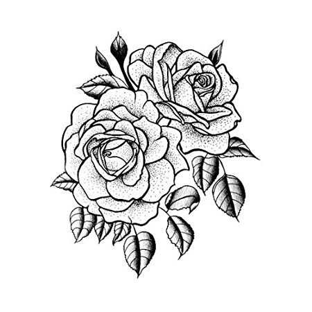 Drawn rose bush rose cluster : 2) Temporary Tattoos Flower