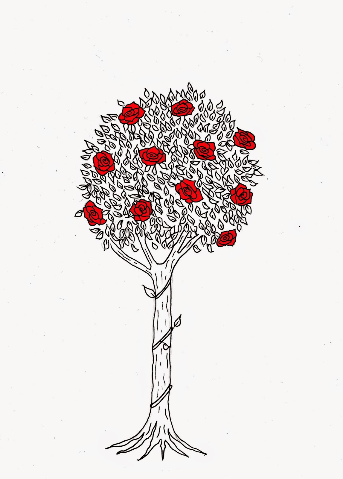 Drawn rose bush rose tree The adding because its the