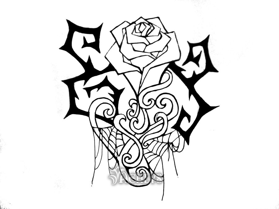 Drawn rose bush thorn sketch By and Achlys Thorns and