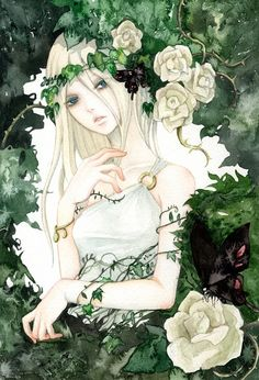 Drawn rose bush woman Anime on GL+18 Girl this