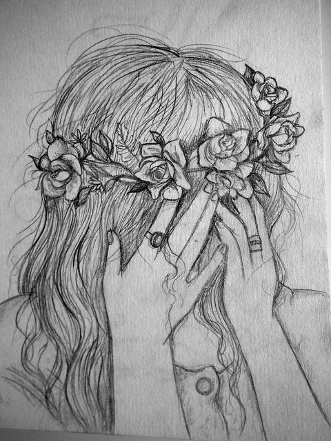 Drawn rose bush woman Girl girl headband rose a