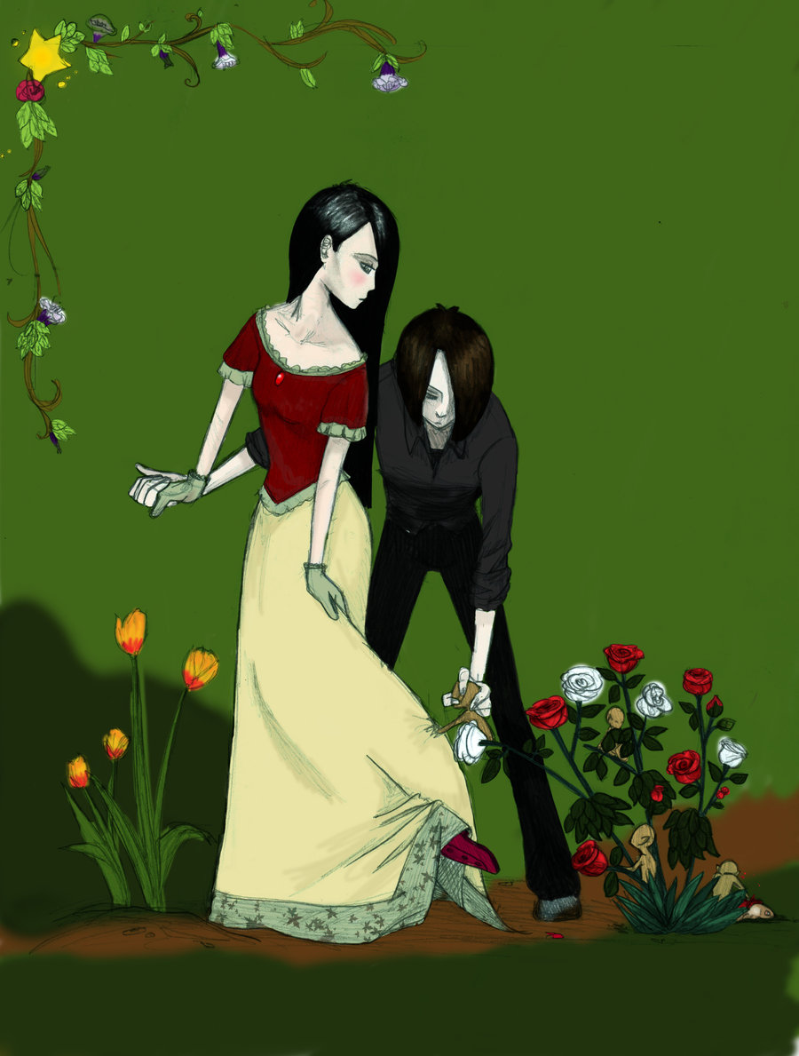 Drawn rose bush woman LuciferHart by DeviantArt by by