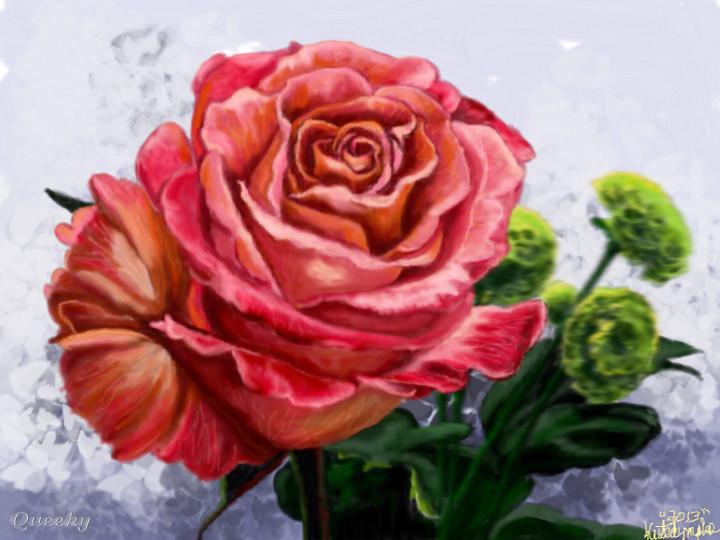 Drawn rose colorful flower Plants Colored Artwork  Speedpaint