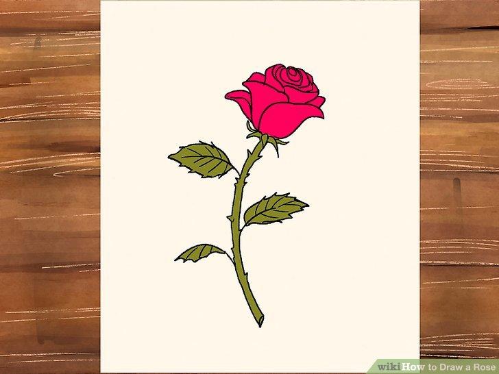 Drawn rose contrast 3 Image Step titled Rose