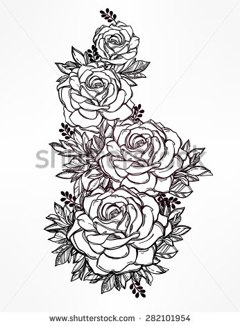 Drawn rose detailed With detailed with detailed Victorian