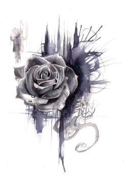 Drawn red rose deviantart Rosetattoo DeviantArt Print Rose on