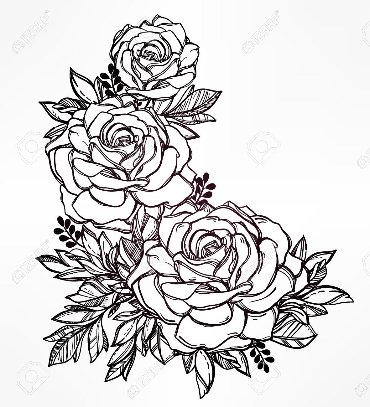 Drawn rose different flower With Vintage Vintage  flower
