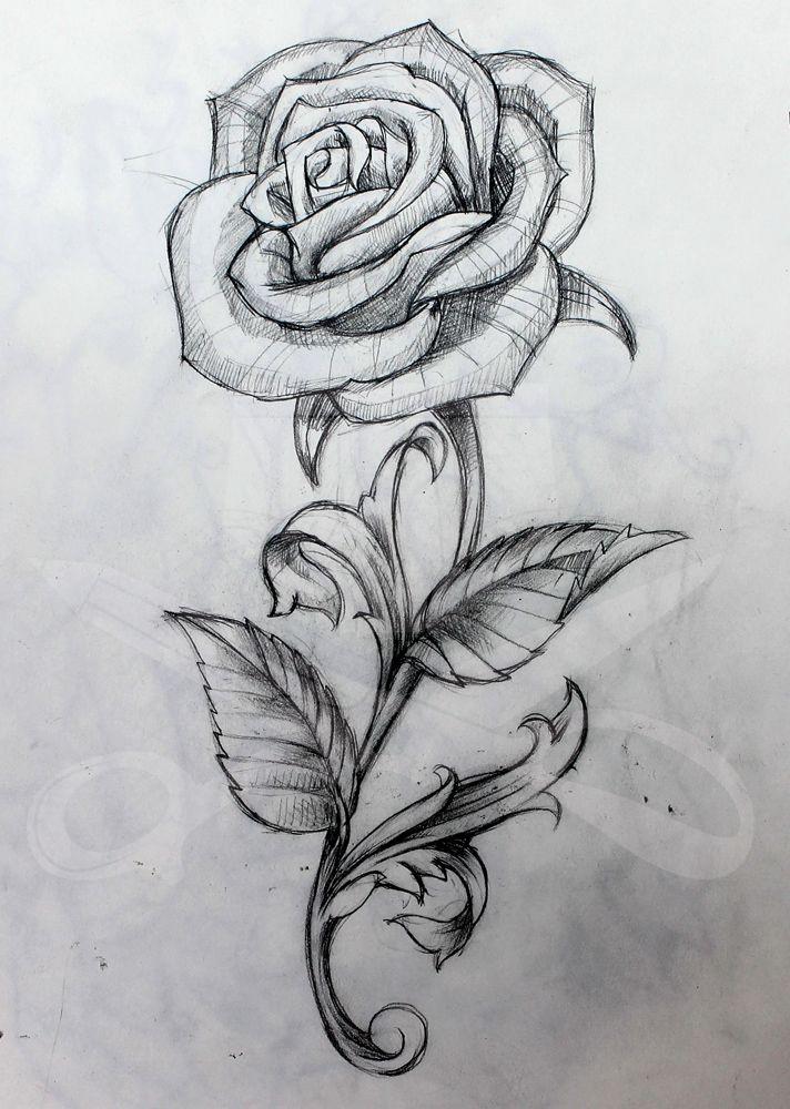 Drawn tattoo rose #2