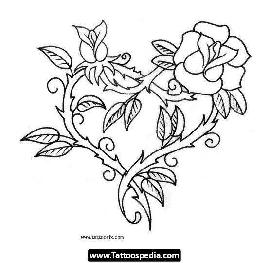 Drawn red rose branch 05 Pinterest Rose Joker tattoos