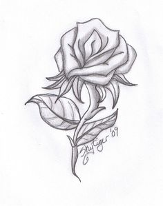 Drawn hearts big rose Rose by rose ~Blood on