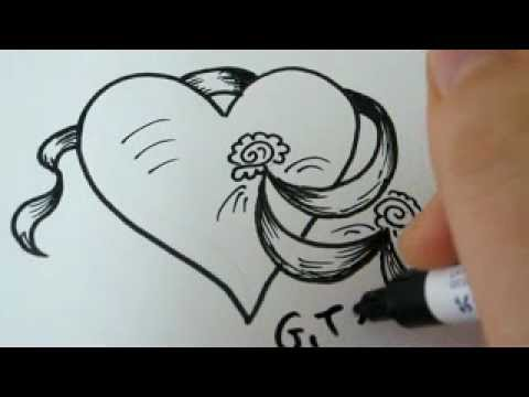 Drawn rose fancy heart Ribbon a How Heart How