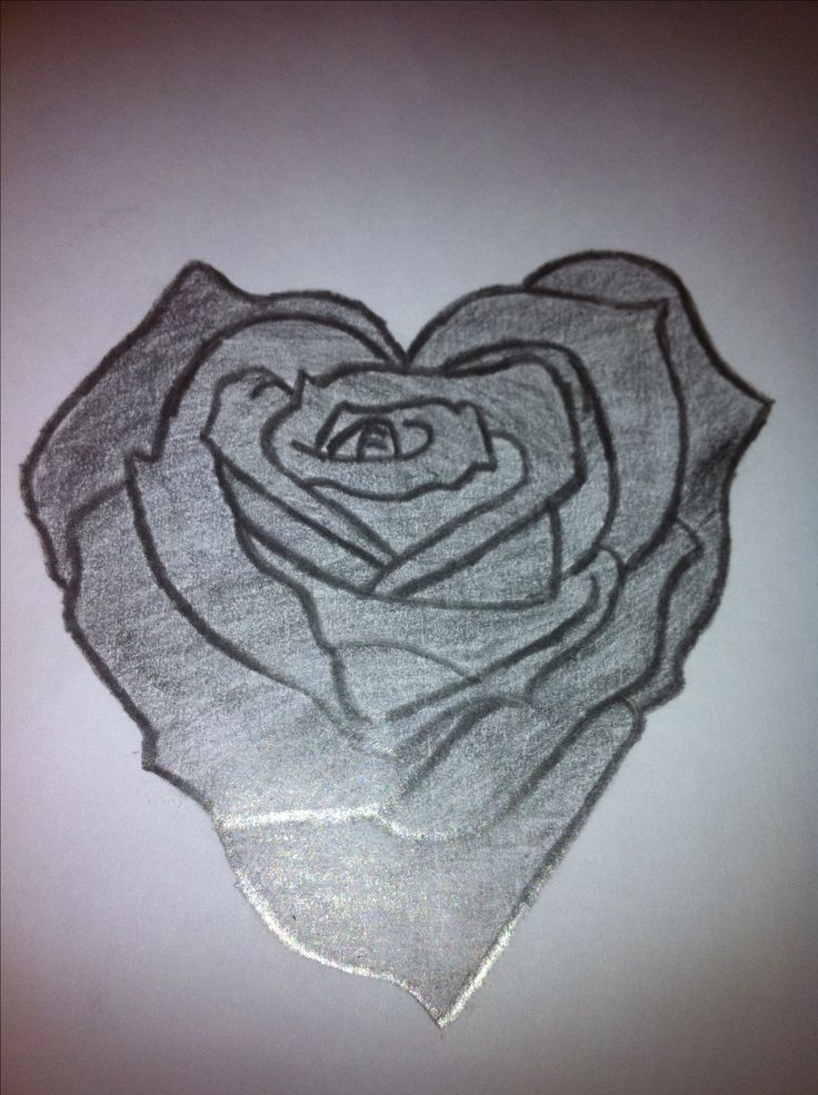 Drawn rose fancy heart On Rose  best images