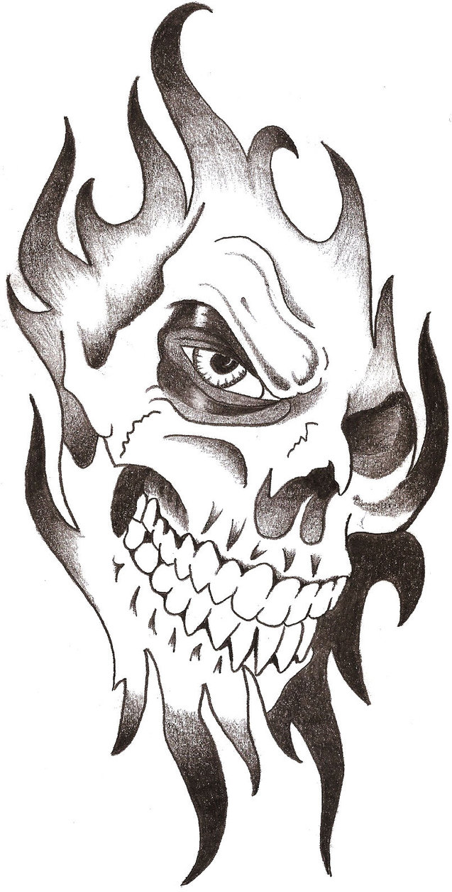 Drawn rose flame Skull DeviantArt Drawings TheLob pic