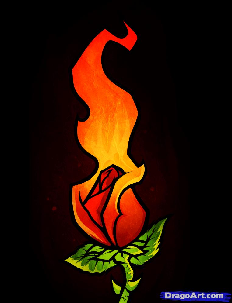 Drawn rose flame  to Art Art Step