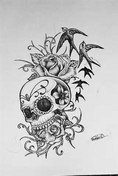 Drawn rose girly skull 211158 skulls Coloring Skull Sugar