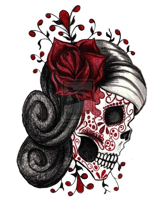 Drawn rose girly skull Drawings best Pinterest Sugar skull