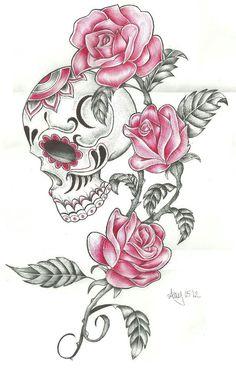 Drawn rose girly skull These Tiger skull  Tiger