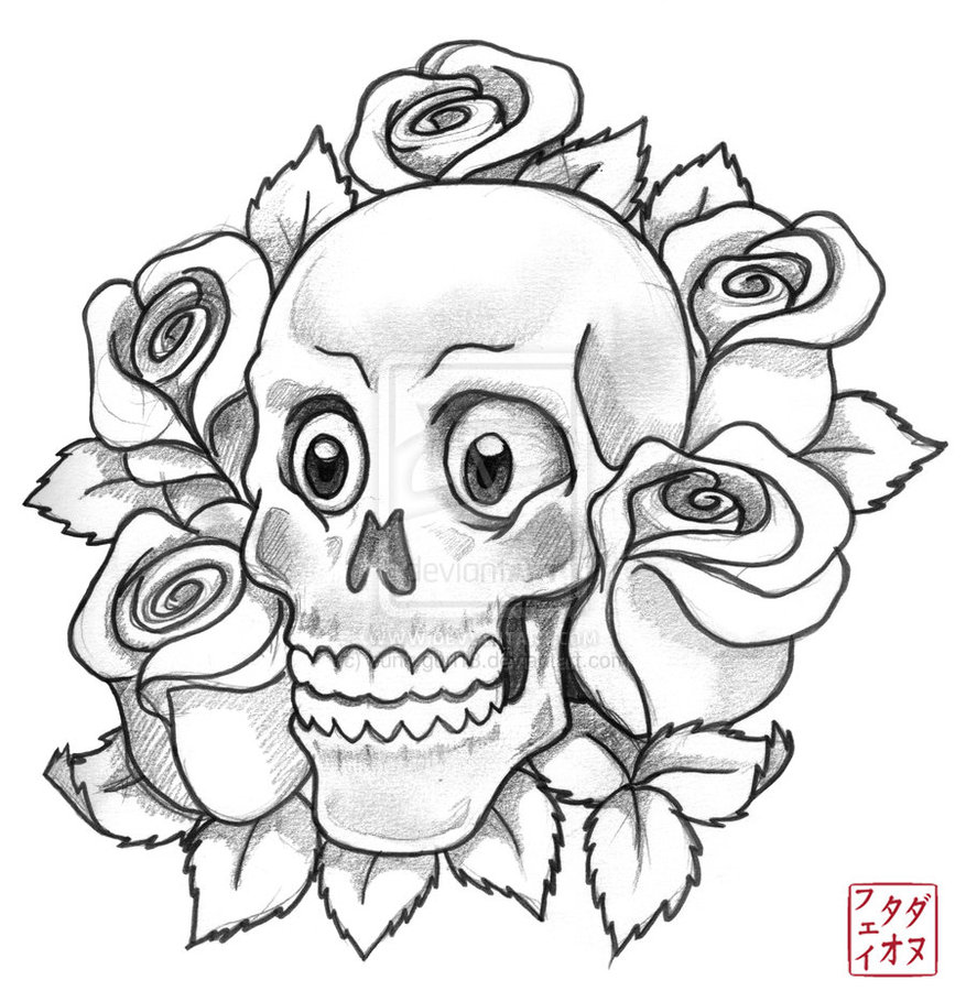 Drawn rose girly skull Girly on  sketch DeviantArt