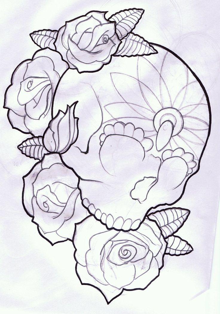 Drawn rose girly skull By Skull Pinterest Pixel and