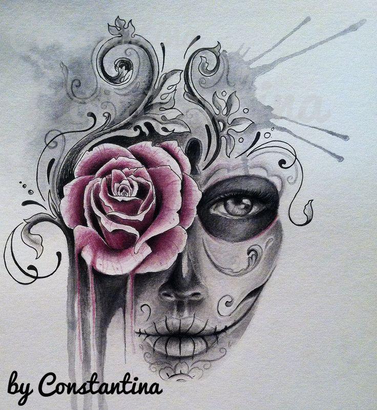 Drawn rose girly skull 25+ on Google rose drawing