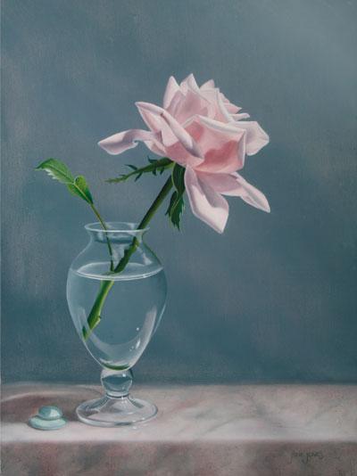 Drawn rose glass vase Still to Sent Jones Jane