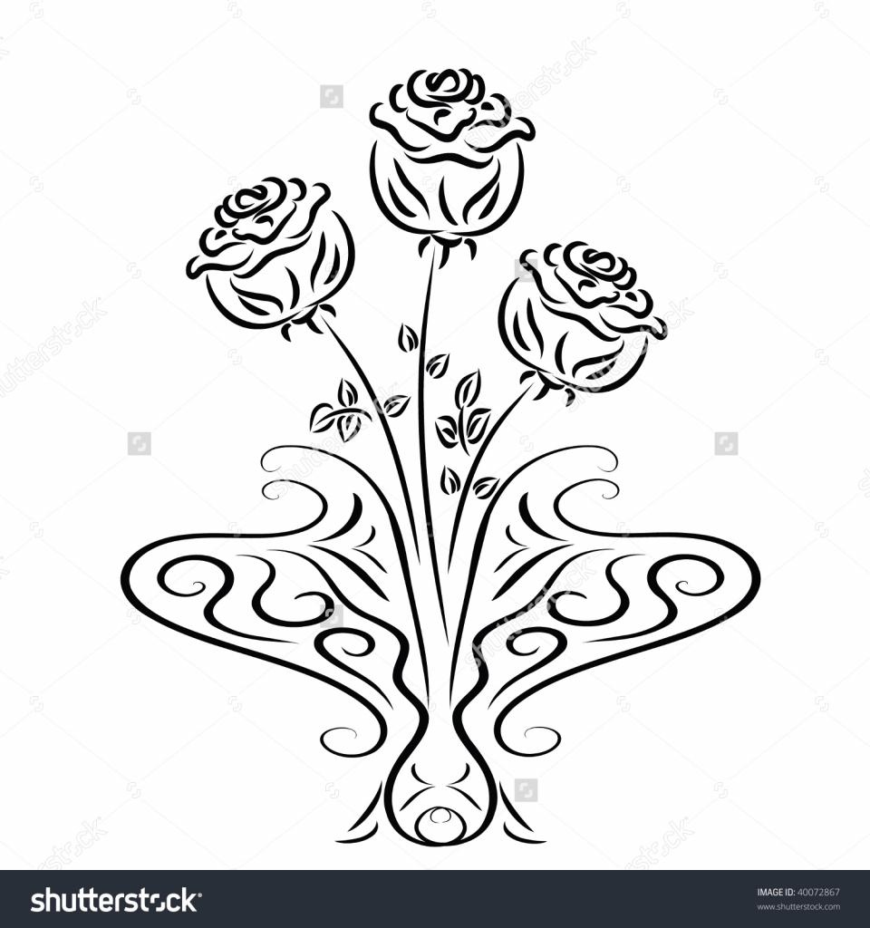 Drawn rose glass vase Drawing photos