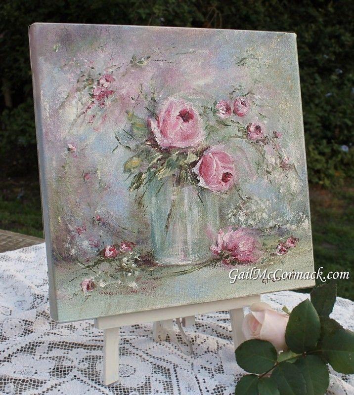 Drawn rose glass vase Stretcher Vase on Glass 654