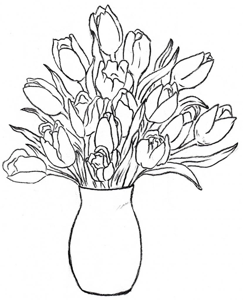 Drawn rose glass vase Rose Vase Flower Rose Glass