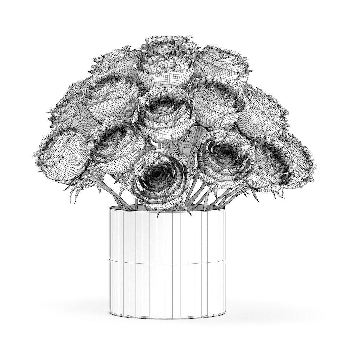Drawn rose glass vase FBX 3d white glass Vase