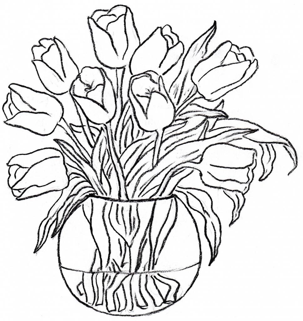 Drawn rose glass vase  Patterns Vase Glass Painting
