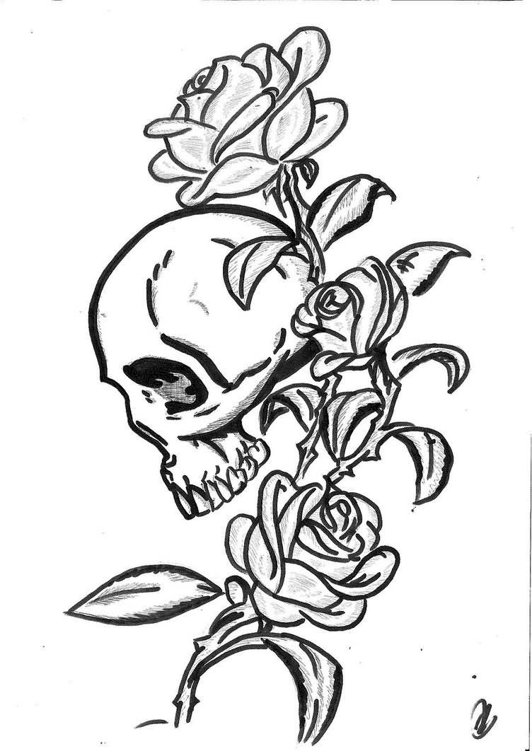 Drawn rose gothic Gothic 35 Gothic Black Stencil