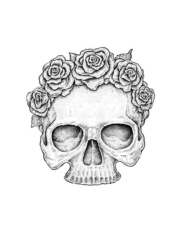 Drawn rose gothic On Liners 25+ Skull Pinterest