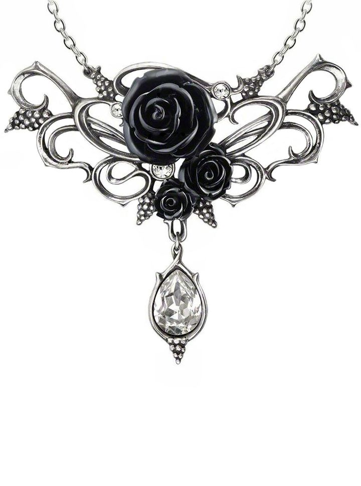 Drawn necklace black and red England Rose of I on
