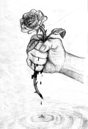 Drawn rose hand holding #bleeding #bleeding Sketches #rose Pinterest