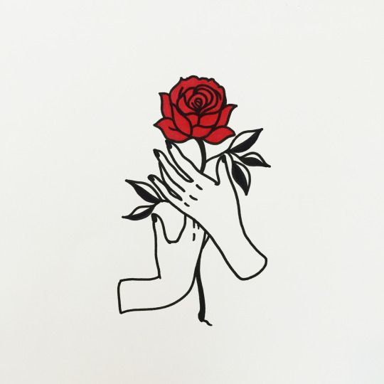 Drawn rose hand holding And Best ideas Pin holding