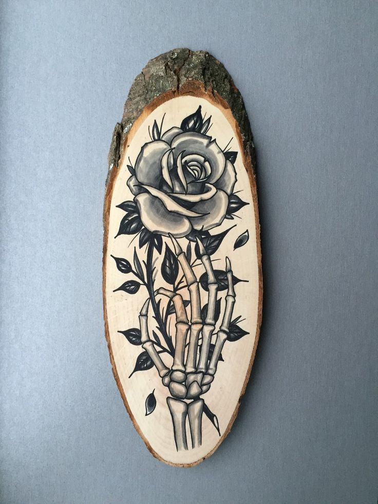 Drawn rose hand holding With decoration of ideas slice