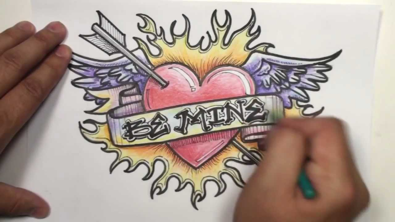 Drawn rose heart on fire Wings Arrow Draw To Speed