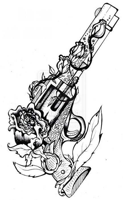 Drawn rose interesting Of  with gun Cool