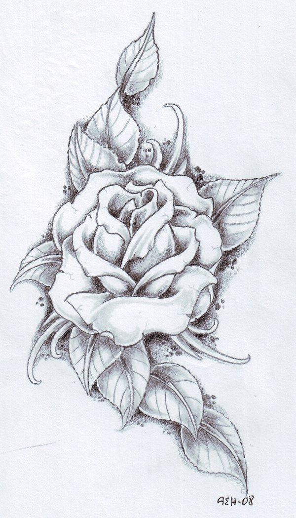 Drawn rose leaves Leaves tattoos tattoo its inside
