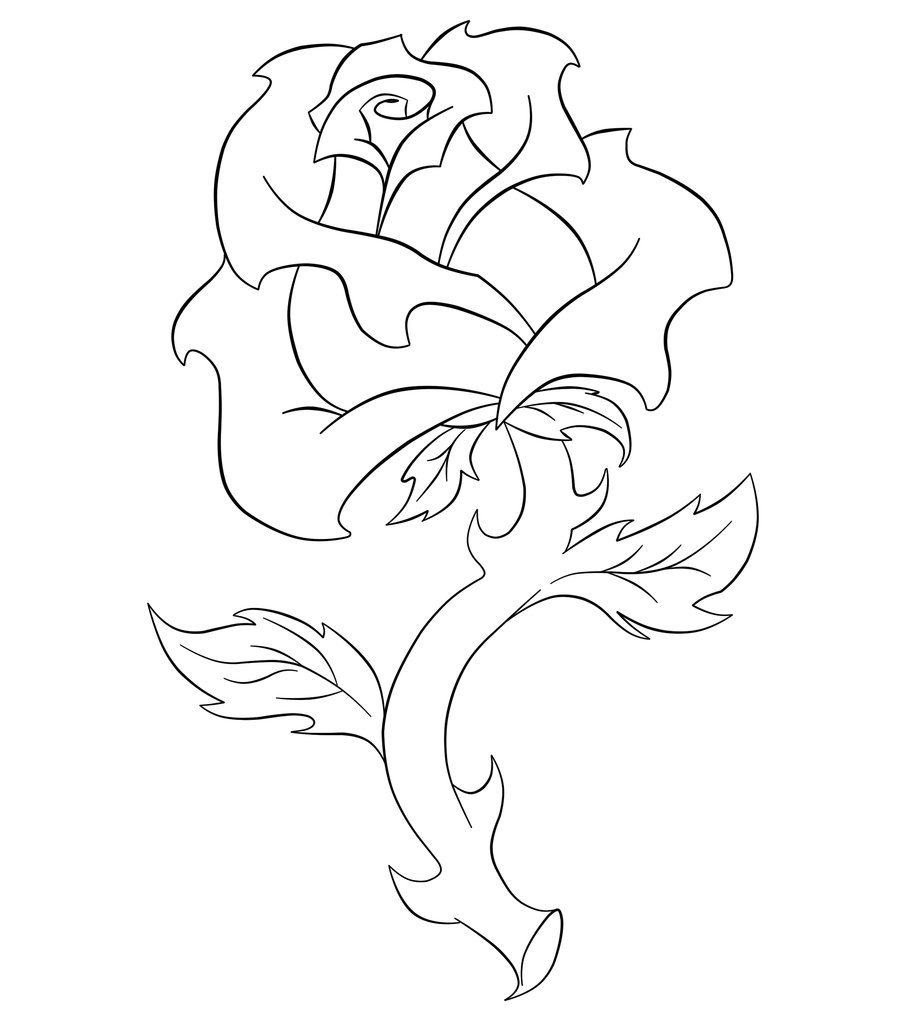 Drawn rose line art HazelJohnson Clipart Download Free Art