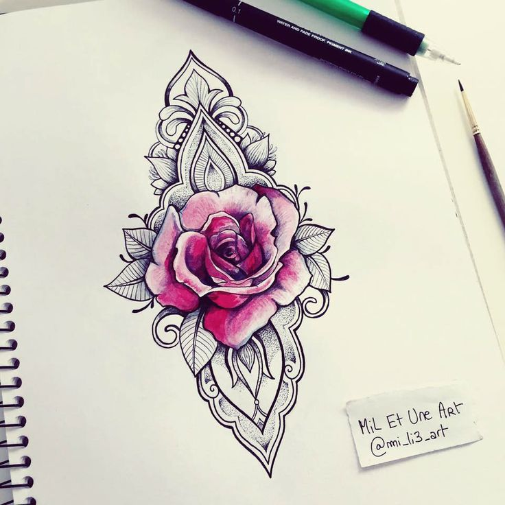 Drawn rose little rose Tattoos Pinterest Consulta ornamental Rose